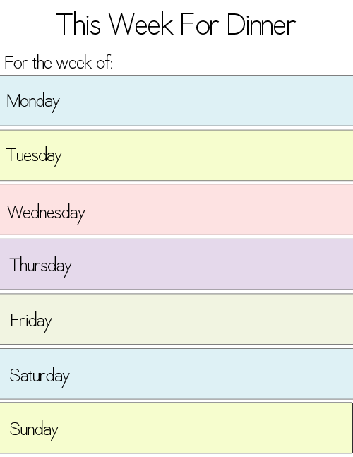 blank weekly meal planner template .