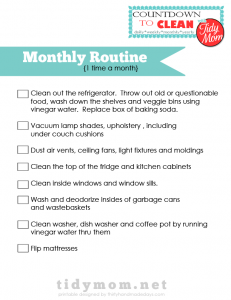 Monthly Routine Checklists