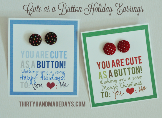 Cute Christmas Ideas For Friends.Home Made Gifts Cute As A Button Earrings