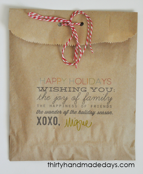 Gift Bag Holiday Treat Printable!! Such a great idea to use up those brown lunch bags!!