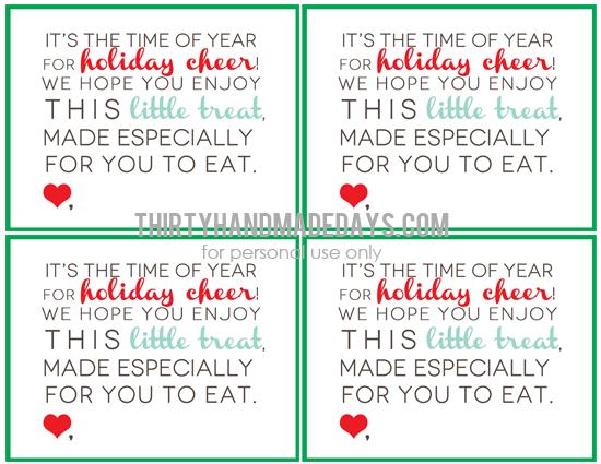 Christmas Treats: Printable Holiday Treat Card