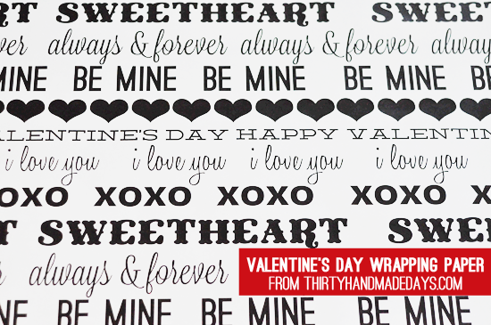 i made one traditional subway art type of wrapping paper - Valentines Day Wrapping Paper