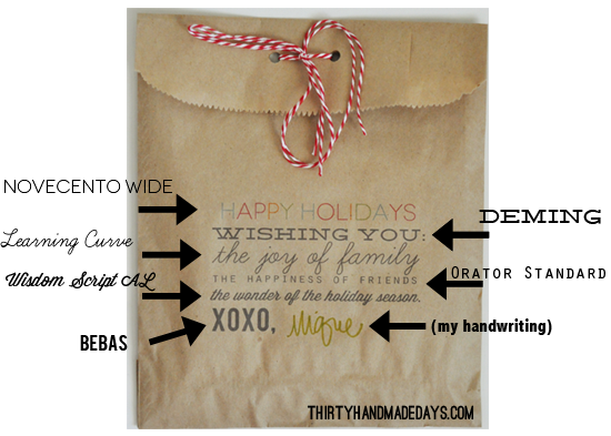 Printable Gift Bag Fonts
