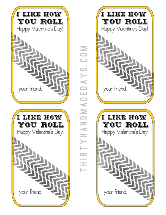Printable Valentines I Like How You Roll