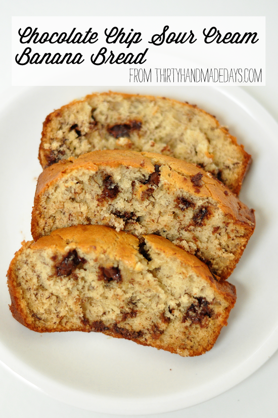 Banana Bread Recipe with Sour Cream & Chocolate Chips