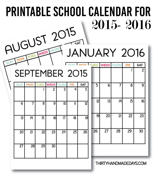 Printable School Calendar for 2015-2016 from www.thirtyhandmadedays.com